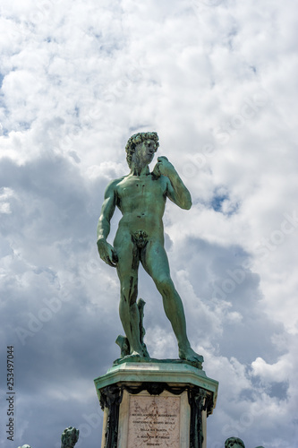 The statue of Michelangelo David at Piazzale Michelangelo (Michelangelo Square) in Florence, Italy - 253497044