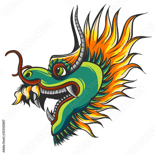 head of a colorful Chinese dragon illustration