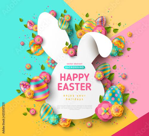 Easter rabbit frame and eggs - 253507231