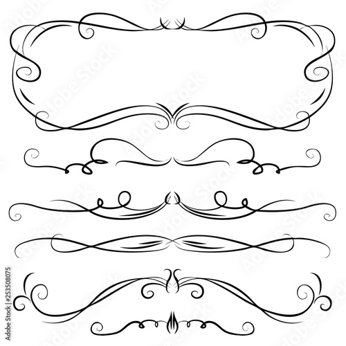Hand Drawn Vector Vintage Swirl Borders Frames Set