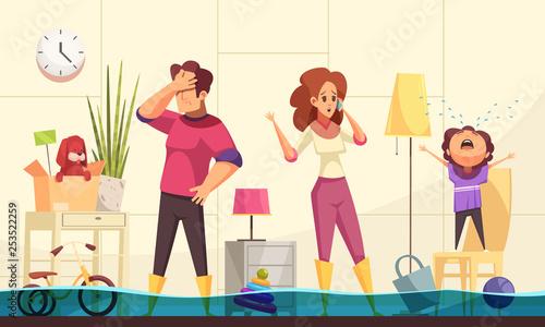 Plumber Flooded House Illustration