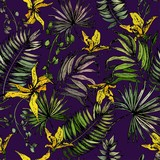 Seamless pattern with tropical leaves and yellow orchid flowers. Vector on dark purple background.
