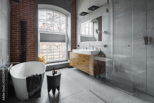 Industrial style bathroom - 253529088