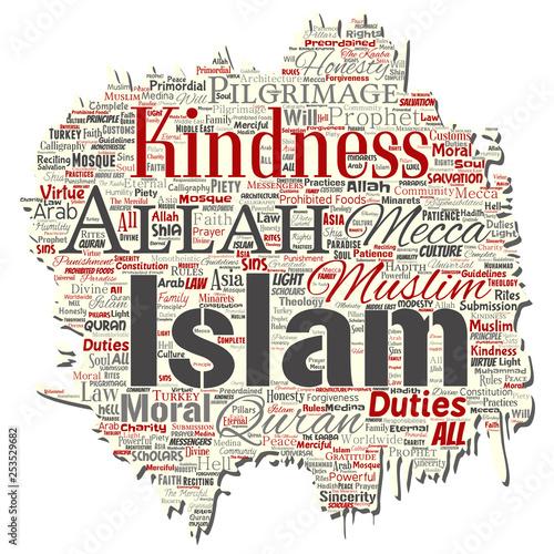 Vector conceptual islam, prophet, mosque old torn paper word cloud
