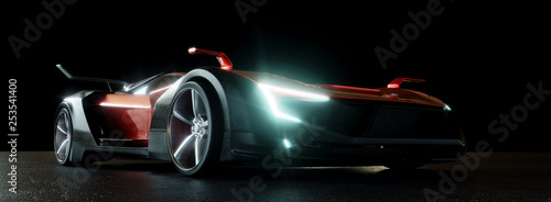 Leinwanddruck Bild Moderner Sportwagen bei Nacht mit LED Scheinwerfern