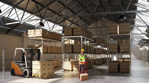 Leinwandbild Motiv Arbeiter mit Gabelstapler und Ware in Lagerhalle