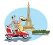 Eiffel Tower, Paris, France, young couple retro style riding a motor scooter