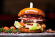 Leinwanddruck Bild - Fast food with traditional tasty hamburger