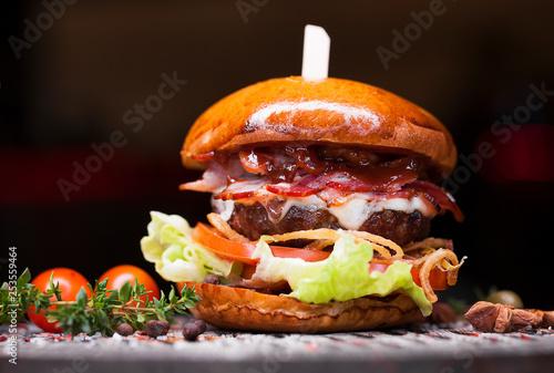Leinwanddruck Bild Fast food with traditional tasty hamburger
