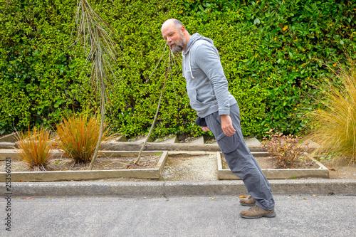obraz PCV lean forwards male person
