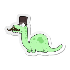 sticker of a cartoon posh dinosaur
