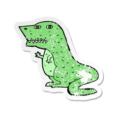 retro distressed sticker of a cartoon dinosaur