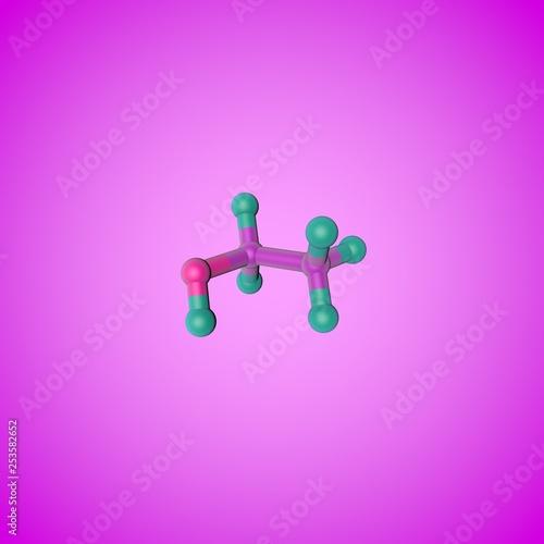 Leinwanddruck Bild Molecular structure of ethanol (drinking alcohol, ethyl alcohol). Scientific background. 3d illustration