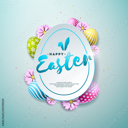 Vector Illustration of Happy Easter Holiday with Painted and Spring Flower on Shiny Blue Background. International Celebration Design with Typography for Greeting Card, Party Invitation or Promo - 253590239