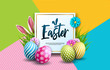 Vector Illustration of Happy Easter Holiday with Painted Egg, Rabbit Ears and Spring Flower on Colorful Background. International Celebration Design with Typography for Greeting Card, Party Invitation