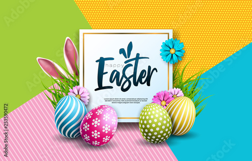 Vector Illustration of Happy Easter Holiday with Painted Egg, Rabbit Ears and Spring Flower on Colorful Background. International Celebration Design with Typography for Greeting Card, Party Invitation - 253590472