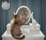 The funny cat views his reflection in the mirror of the pier glass. This is a tiger.
