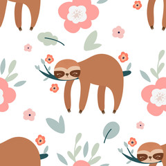 Cute cartoon sloth seamless pattern. Sloth, flowers, and leaves vector illustration.