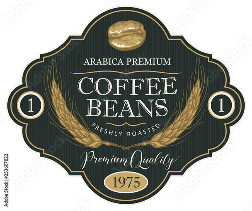Vector label for coffee beans with wheat ears in retro style in figured frame on the striped background. Freshly roasted Arabica premium - 253607822