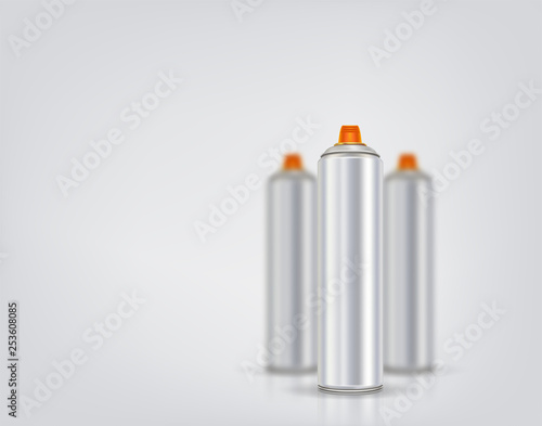 Silver spray can for graffiti on a background of blurred spray cans. Vector illustration with reflection and shadow.