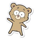 sticker of a surprised bear cartoon