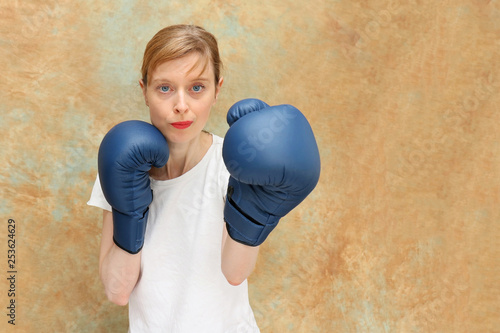 Girl during boxing match