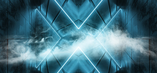 Smoke Fog Sci Fi Neon Glowing Cross Shaped Dance Retro Vibrant Pink Blue Lights On Grunge Tiled Alien Spaceship Reflective Concrete Club Dance Room 3D Rendering