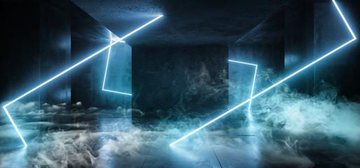 Neon Glowing Blue Cyber Modern Alien Spaceship Sci Fi Futuristic Rectangle Shaped Glowing Lights Smoke And Fog Dark  Concrete Grunge Empty Room 3D Rendering