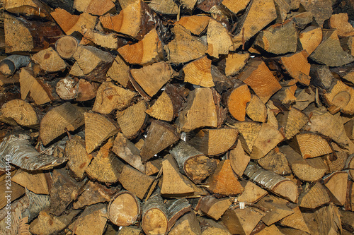 Wood chips for heating. Heat in the house. Wood raw materials - 253643443