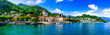 Leinwandbild Motiv Picturesque lake Lago Maggiore. beautiful Laveno Mombello town. north of Italy