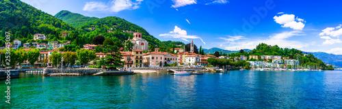 Leinwanddruck Bild Picturesque lake Lago Maggiore. beautiful Laveno Mombello town. north of Italy