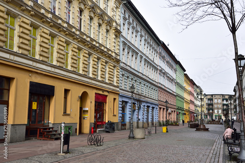 Renovated, colorful building facades in the center of Szczecin.