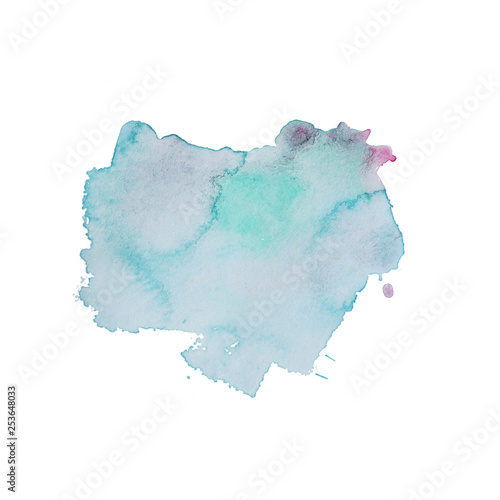 obraz lub plakat Abstract watercolor spot on white textured paper. Isolated. Hand-drawn background. Aquarelle brush stains on paper. For design, web, card, text, decoration, surfaces. Copy Space.
