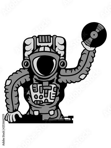 dj musik party club disko platte auflegen mischpult astronaut weltall kosmonaut raumfahrer raumschiff rakete science fiction weltraumfahrer forscher fliegen schweben schwerelos raumanzug zukunft