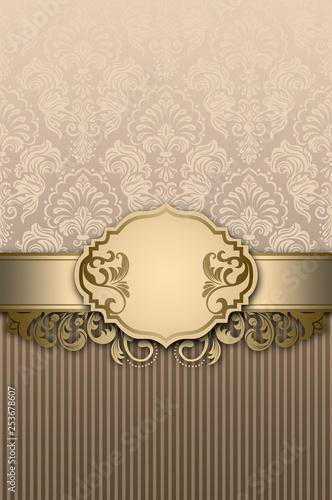 Vintage background with decorative frame and elegant floral patterns. - 253678607