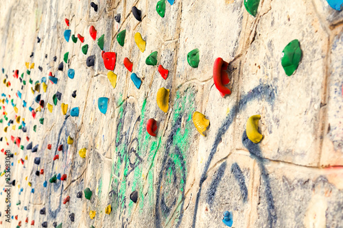 Close up of Rock climbing wall