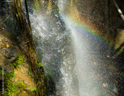 The beautiful rainbow in the water fall - 253683634