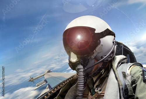 obraz PCV Fighter pilot cockpit view at sunrise