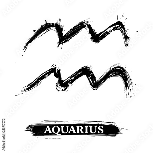 Zodiac sign Aquarius created in grunge style © oxygen64