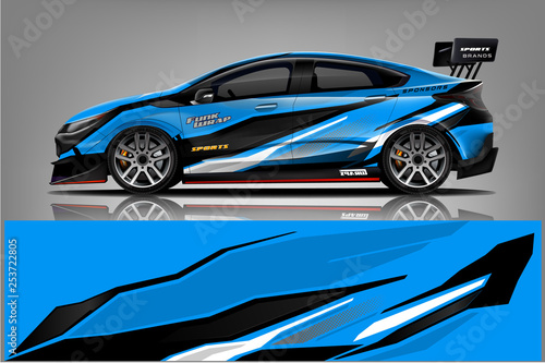Sport car racing wrap design. vector design. - Vector  - 253722805