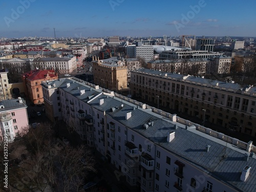 Aerial view of center of Minsk, Belarus in early spring - 253725299