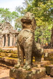 Khmer style Leo sculpture at the entrance to Ta Prohm temple, Cambodia