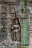 Relief of guard on the wall of Ta Prohm temple, Cambodia