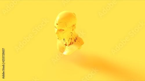Yellow Cyborg Bust 3d illustration 3d render