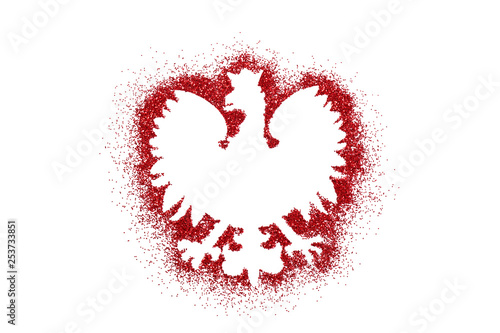 Polish coat of arms shape on red glitter