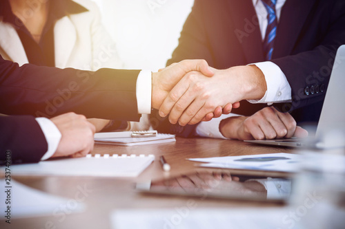 Business people shaking hands at meeting or negotiation in the office. Handshake concept. Partners are satisfied because signing contract - 253742803