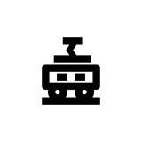 Electric train icon. Shuhurban transport sign
