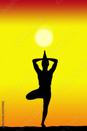 Leinwanddruck Bild yoga female silhouette with a sunset on the background and copy space for your text