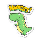 sticker of a cartoon hungry dinosaur