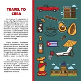 Cuba travel poster with information on Cuban culture famous symbols and Havana landmarks.